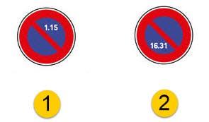 des panneaux d'interdiction de stationnement semi-mensuelle
