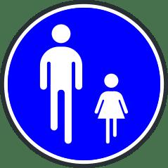 Panneau de chemin obligatoire pour pietons