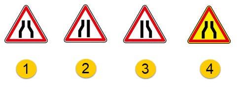 Schéma représentant les différents types de panneaux d'annonce de chaussée rétrécie
