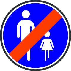 Panneau de fin de chemin obligatoire pour pietons