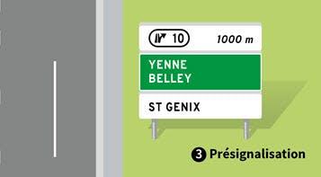 Un panneau de présignalisation de sortie d'autoroute.