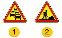 Deux panneaux de danger.