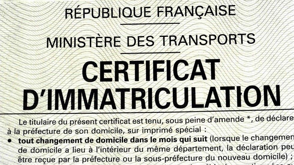 Certificat d'immatriculation des vehicules