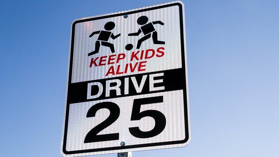 panneau americain d'avertissement de presence d'enfants