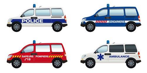 Illustrations représentant des véhicules prioritaires.