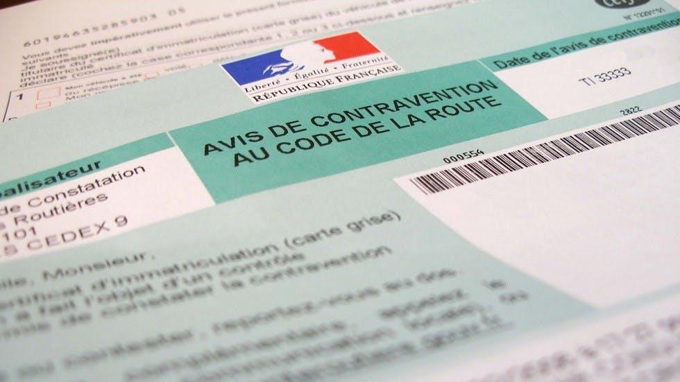 Avis de contravention suite a une infraction au code de la route