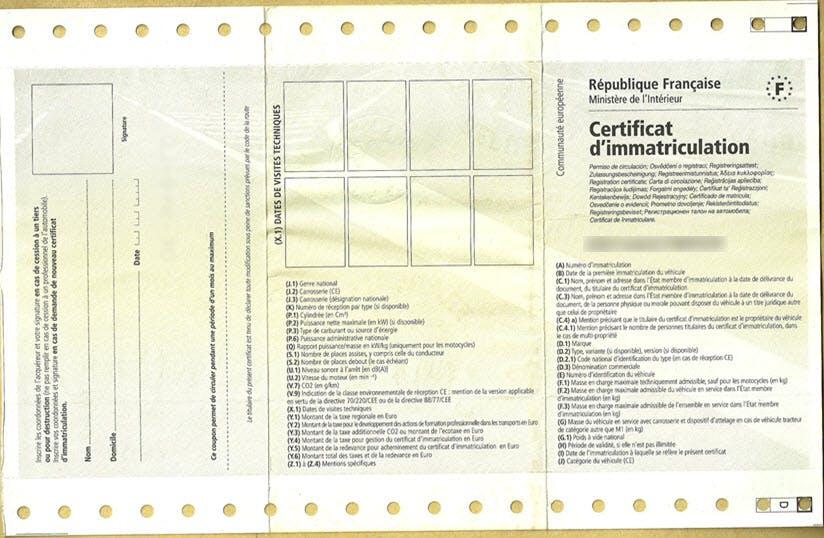 Le Certificat Dimmatriculation Des Automobiles Ornikar