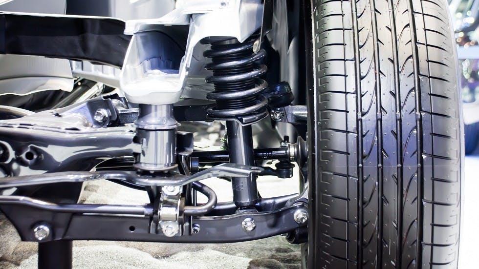 Detail des suspensions d'une automobile