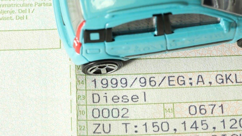 Indication de motorisation diesel sur un certificat d'immatriculation