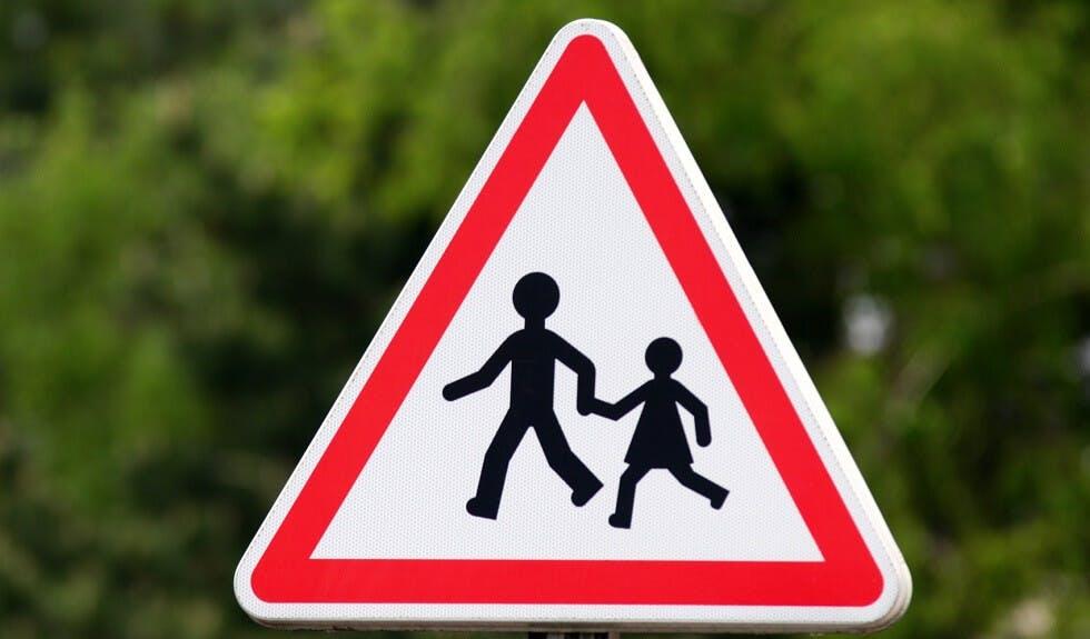 photographie d'un panneau de traversée d'enfants devant un fond de forêt