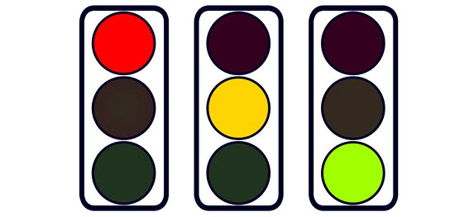 Illustration représentant un feu tricolore
