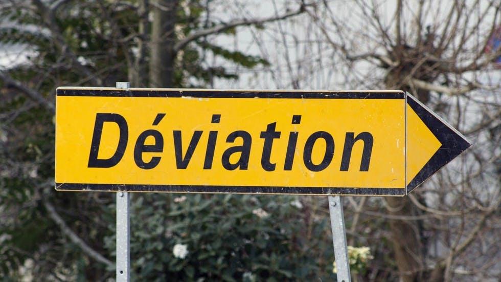 Panneau d'indication temporaire de déviation
