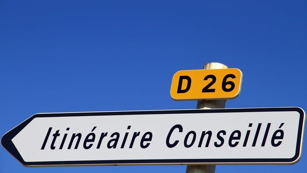 Panneau d'itinéraire conseillé