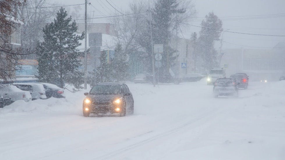 Automobiles circulant sous la neige