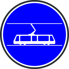 Panneau de voie réservée aux tramways