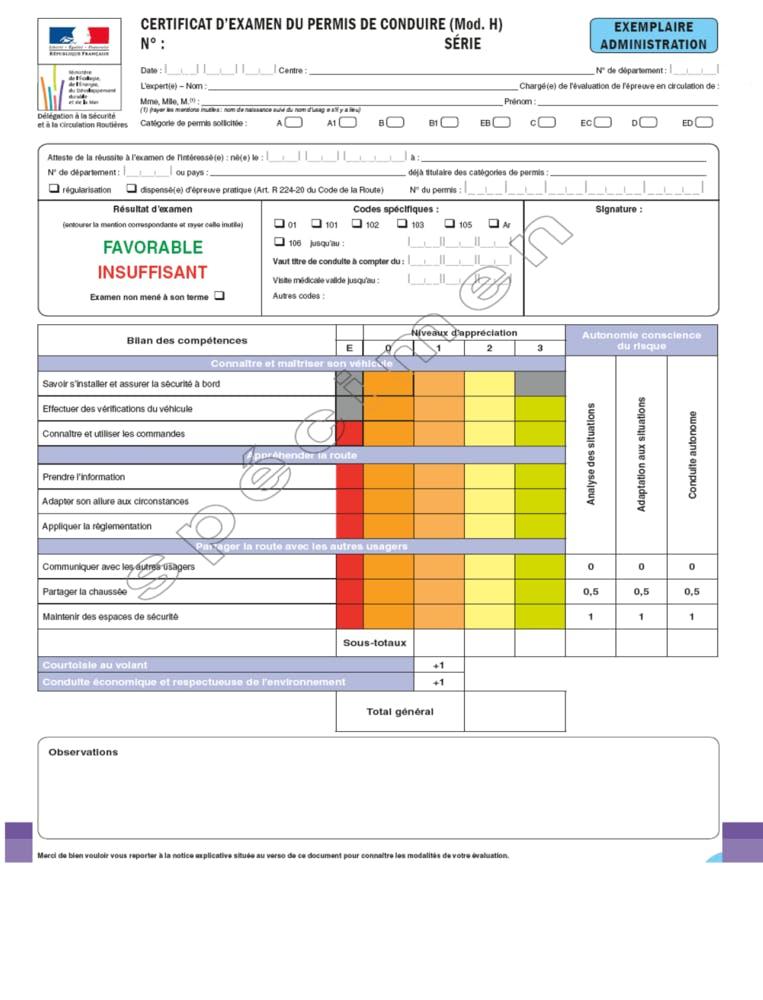 grille d'évaluation du permis