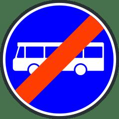 Panneau de fin de voie reservee aux transports en commun