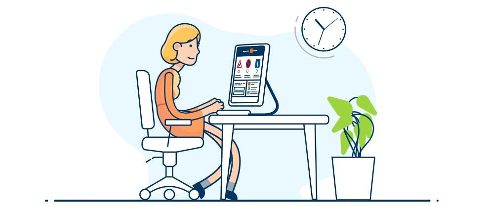 Illustration d'une candidate s'entraînant au code de la route en ligne