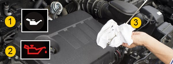 Photographie montrant les différents voyants lumineux relatifs à l'huile moteur.