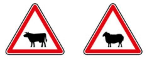 Schéma représentant un panneau de zone de passage d'animaux domestiques.