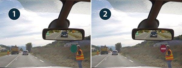 Piquets mobiles utilises par des ouvriers pour gérer la circulation alternee