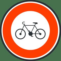 Panneau d'acces interdit aux cycles