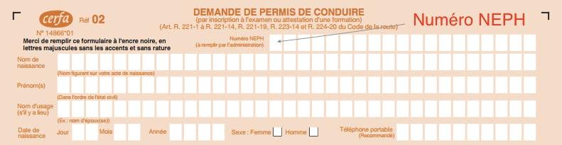 Formulaire cerfa 02 : numéro NEPH pour candidat libre