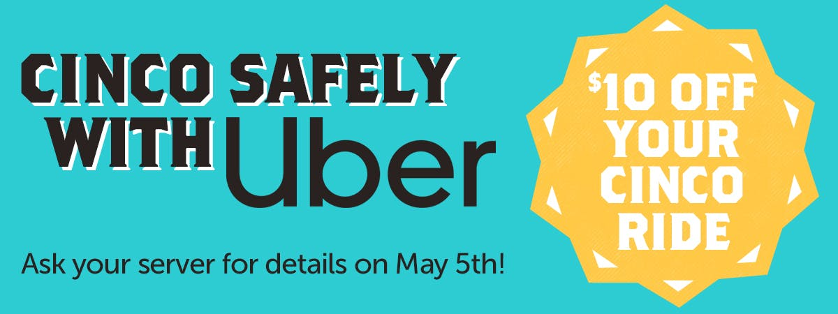 Cinco Safely with a Discount on Uber Rides