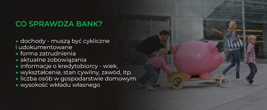 Co sprawdza bank? Dochody, formę zatrudnienia, zobowiązania, informacje o kredytobiorcy, wysokość wkładu własnego