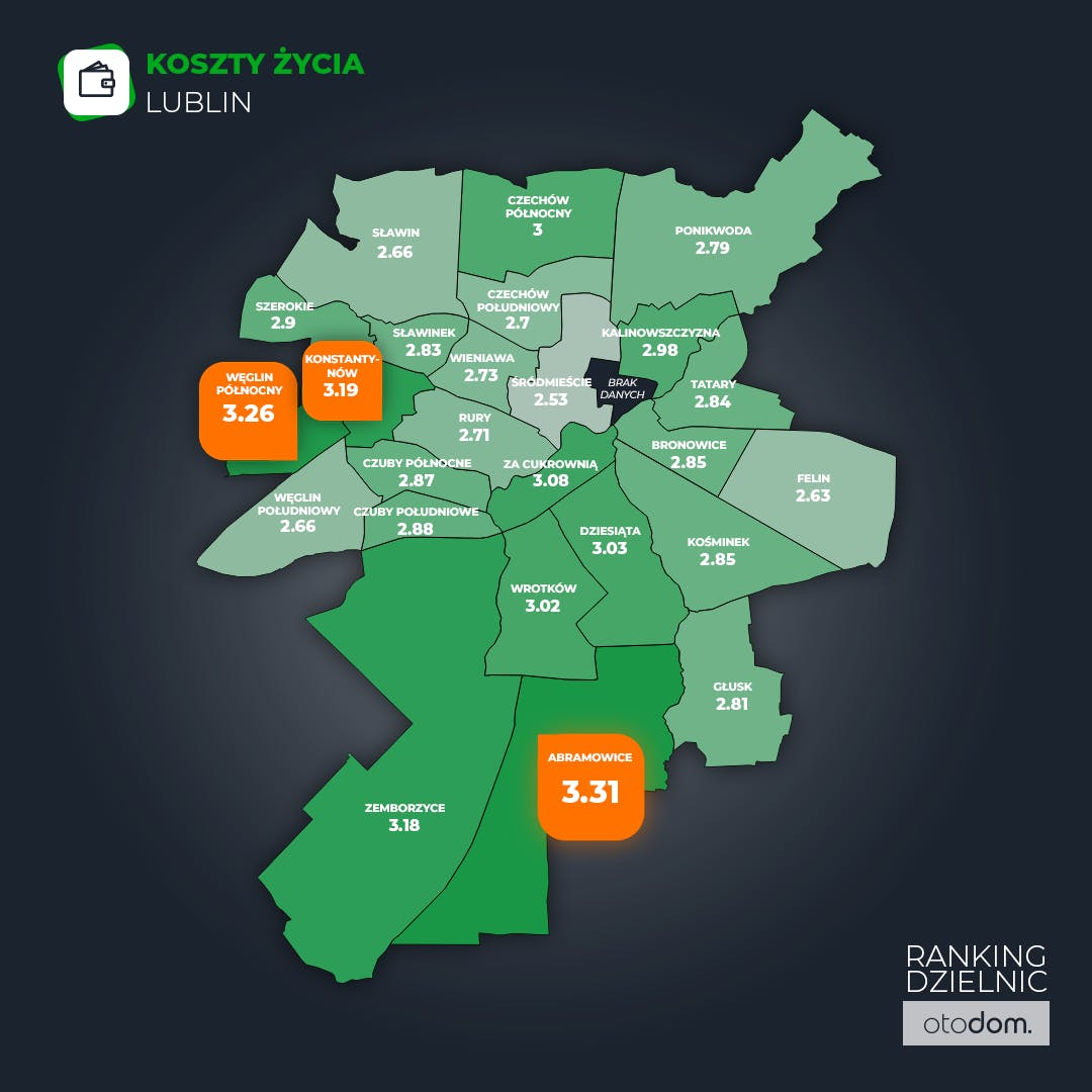 Ranking Dzielnic Otodom 2020 - koszty życia w Lublinie