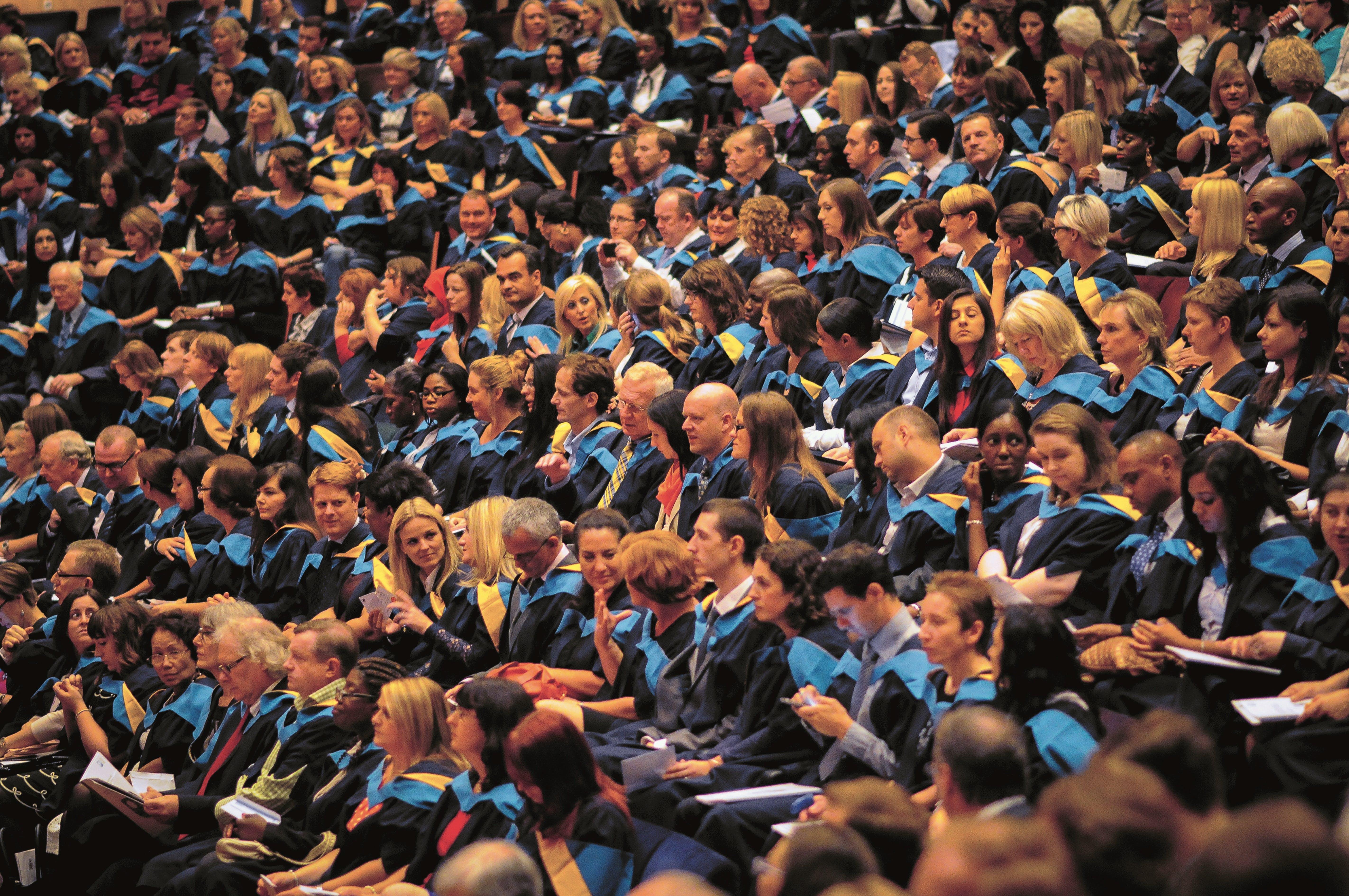 Students in graduation hall