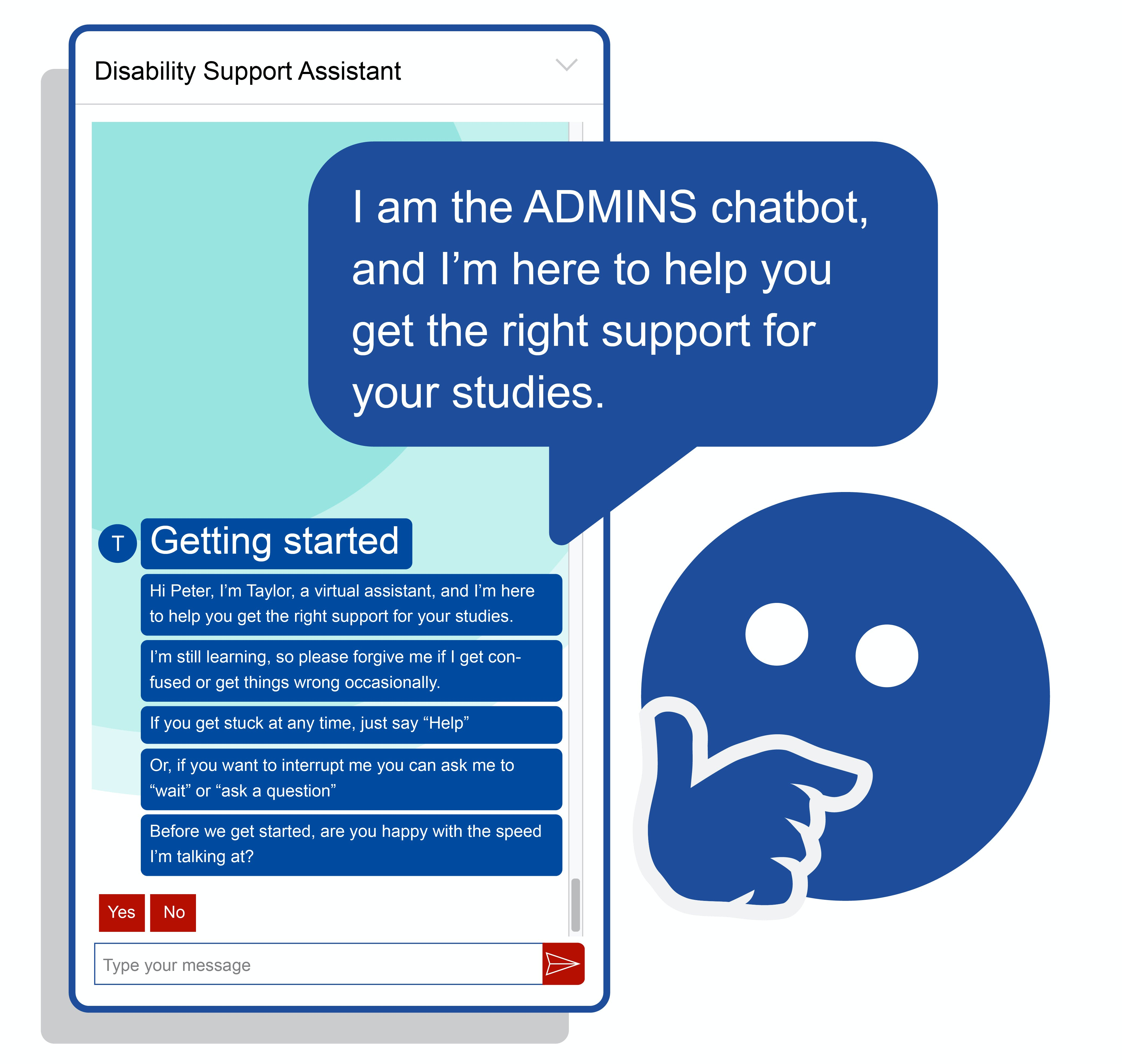 An introductory conversation of the ADMINS chatbot.