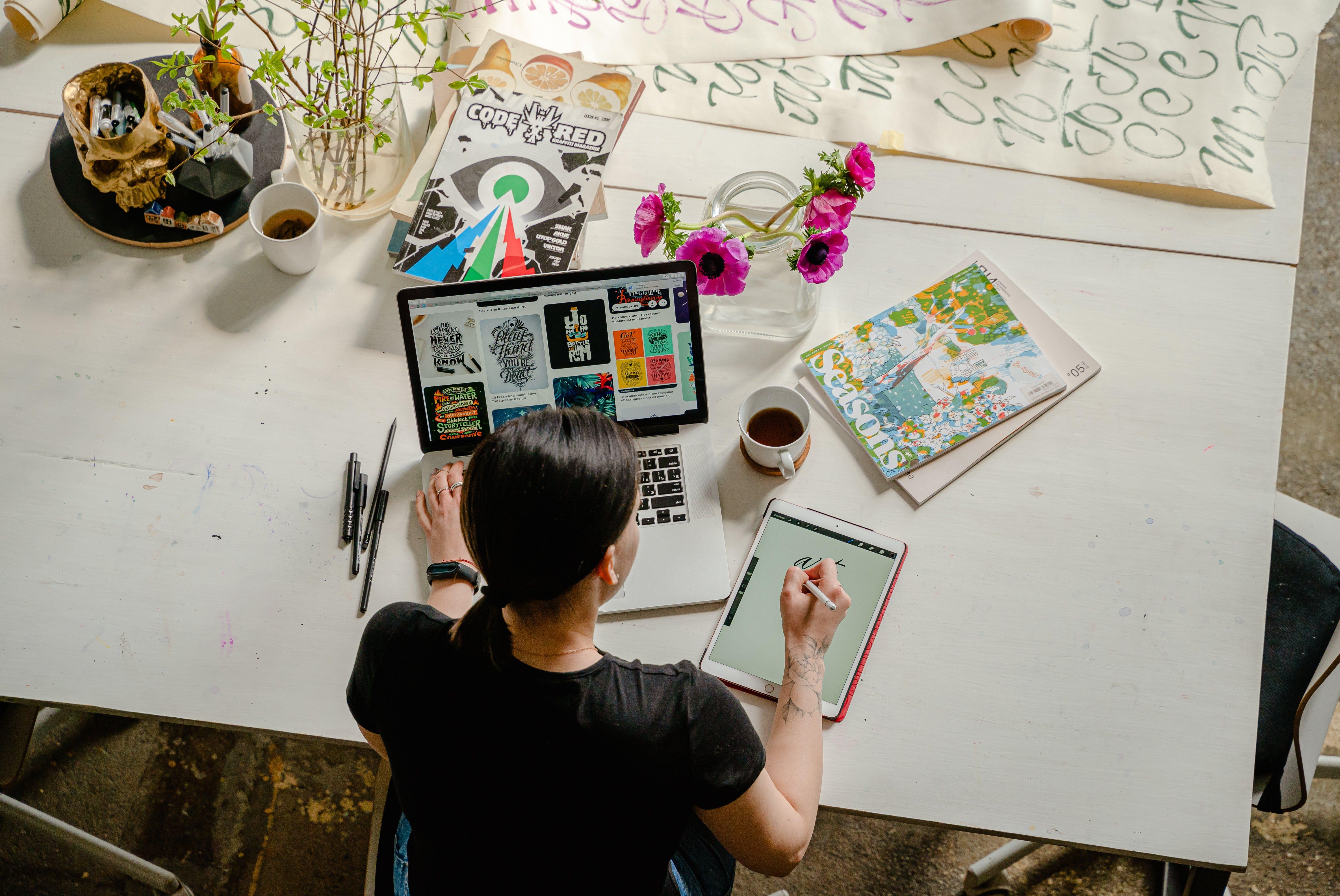 Student producing creative work