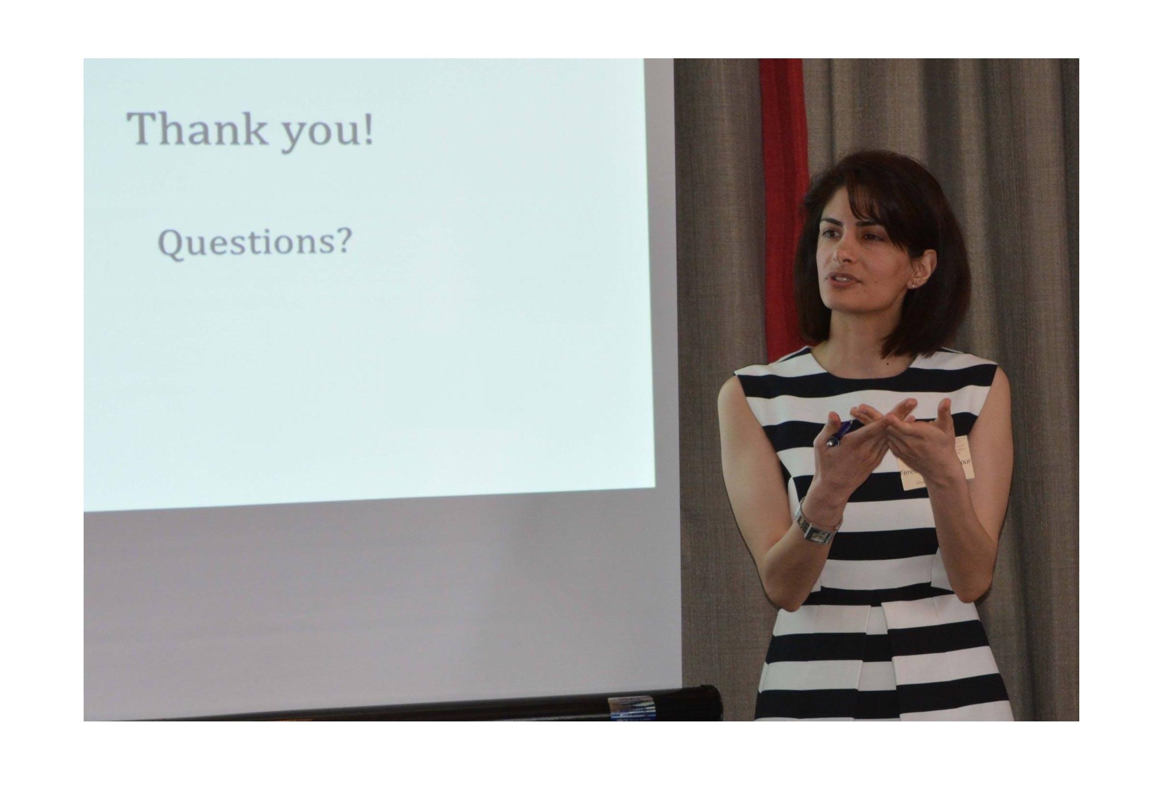 Dr Fereshte Goshtasbpour presenting research
