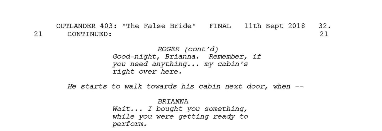 Part of the outlander script