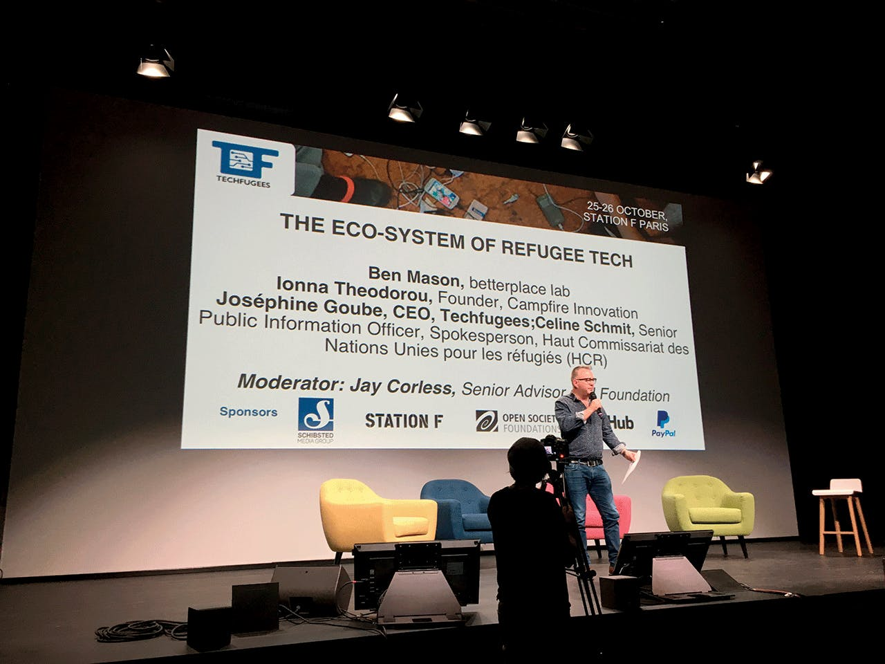 MIKE BUTCHER, EDITOR-AT-LARGE OF TECHNOLOGY NEWS WEBSITE TECHCRUNCH, SPEAKS AT THE TECHFUGEES GLOBAL SUMMIT IN OCTOBER 2017.