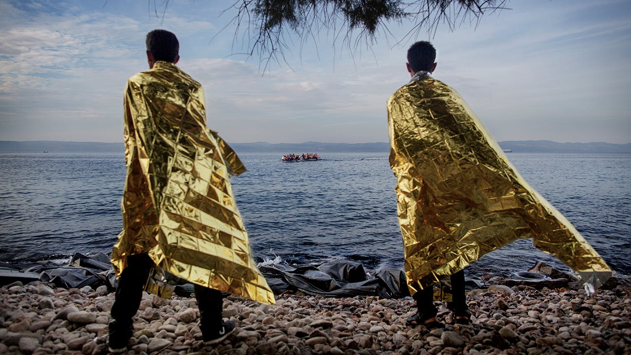 REFUGEES ON THE ISLAND OF LESVOS, GREECE, 2015.