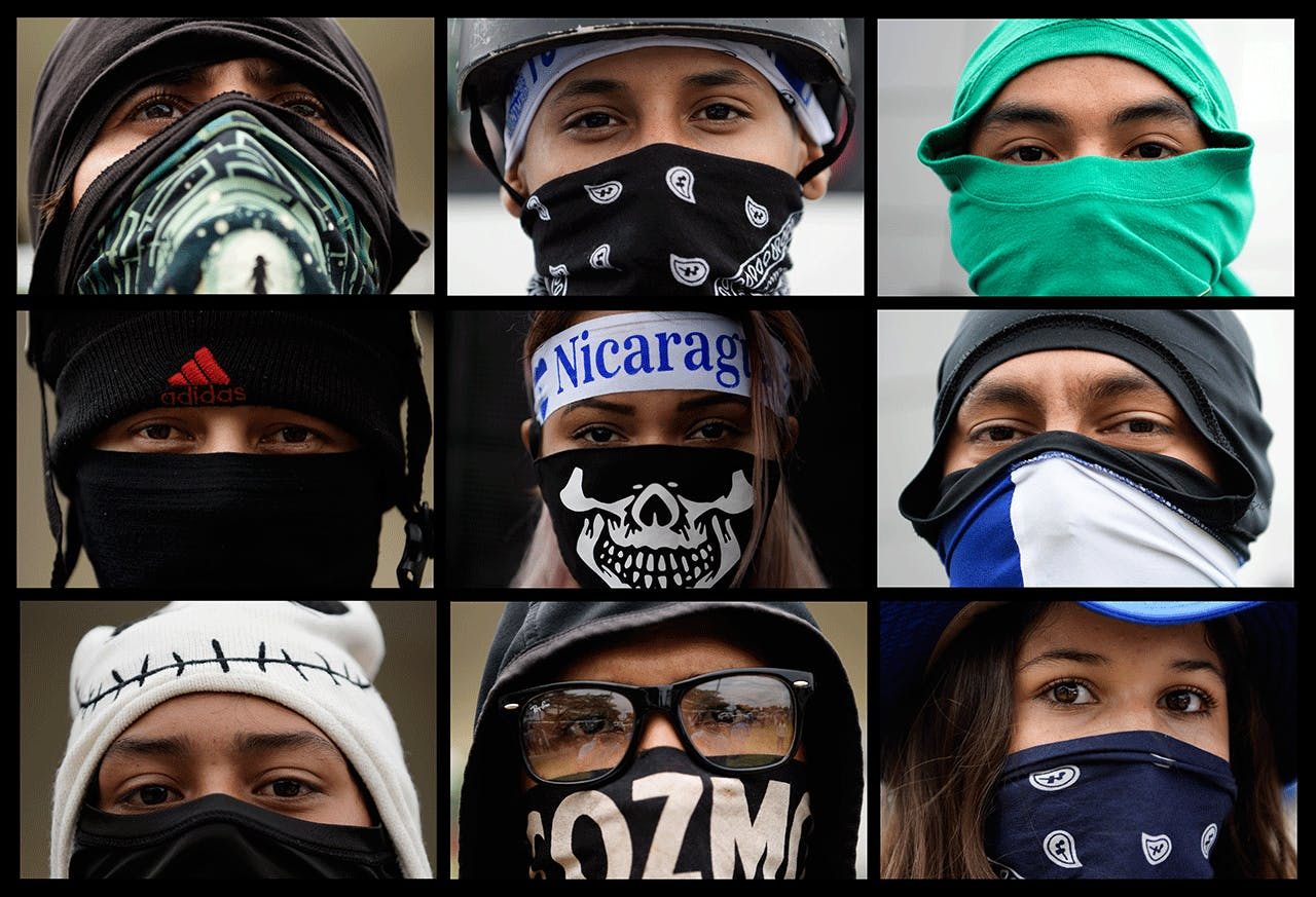 UNIVERSITY STUDENTS TAKING PART IN A DEMONSTRATION DEMANDING THAT PRESIDENT DANIEL ORTEGA AND HIS POWERFUL VICE PRESIDENT, WIFE ROSARIO MURILLO, RESIGN AND THAT THE GOVERNMENT KEEP A 6% BUDGET FOR UNIVERSITIES. IN MANAGUA, AUGUST 2, 2018.