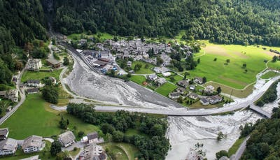 An aerial view of Bondo after the landslide.