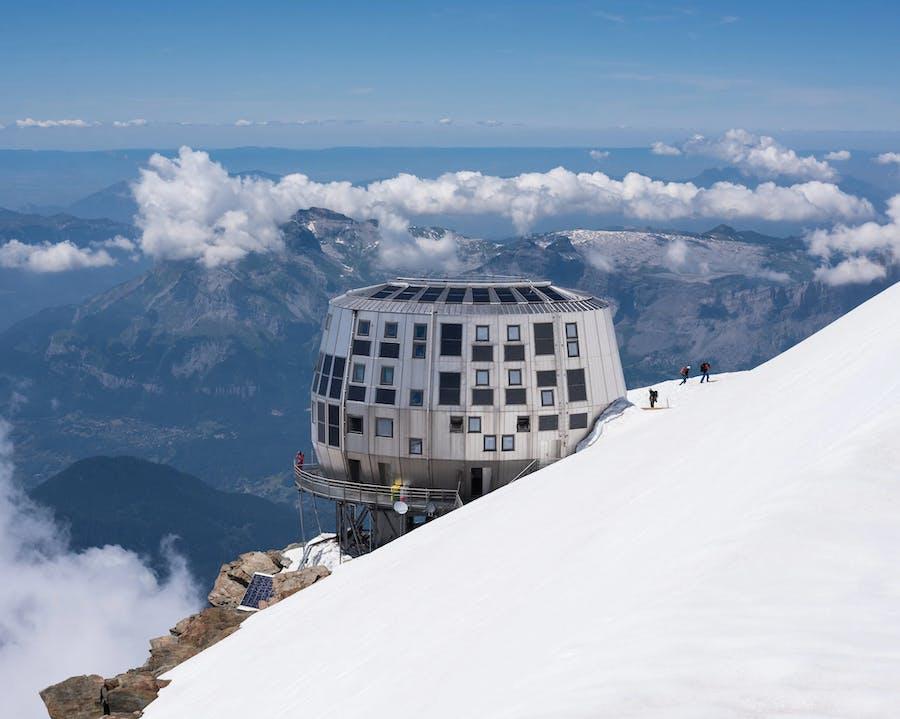 The Refuge du Gouter on the slopes of Mont Blanc