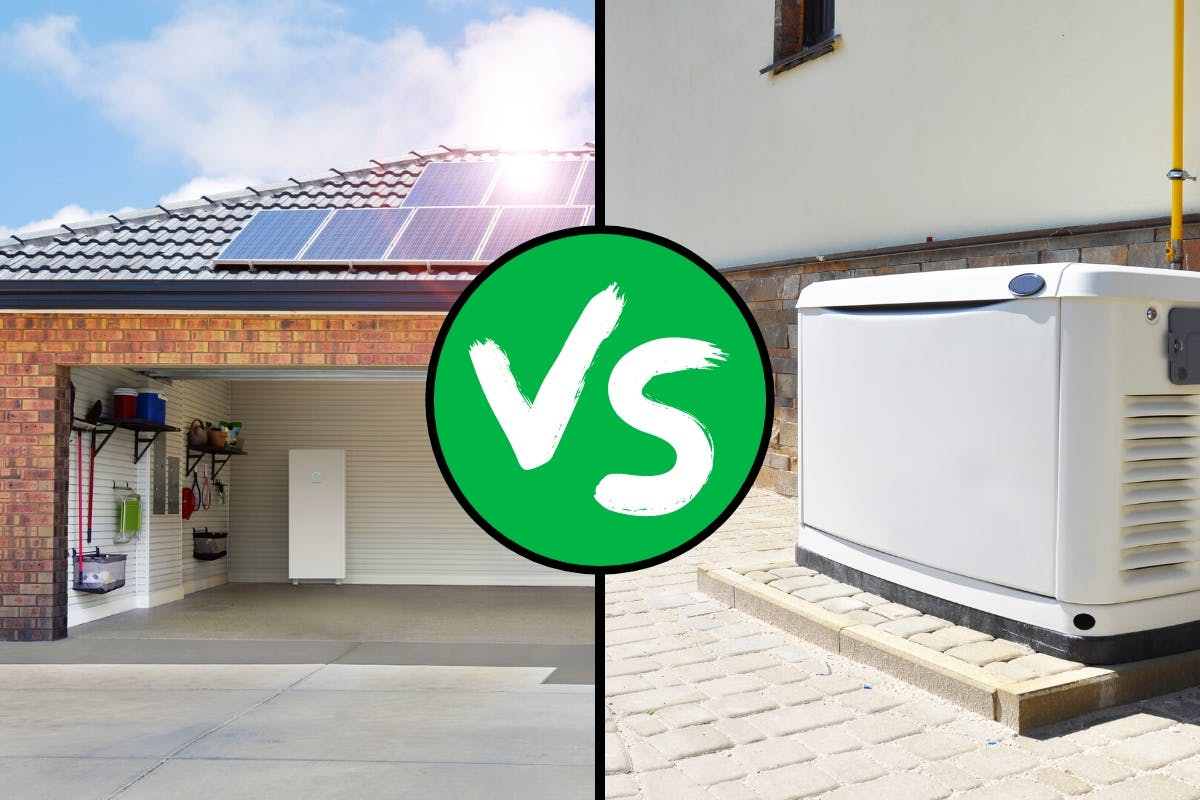 Comparing a backup generator and battery storage for backup power options during a power outage or blackout.