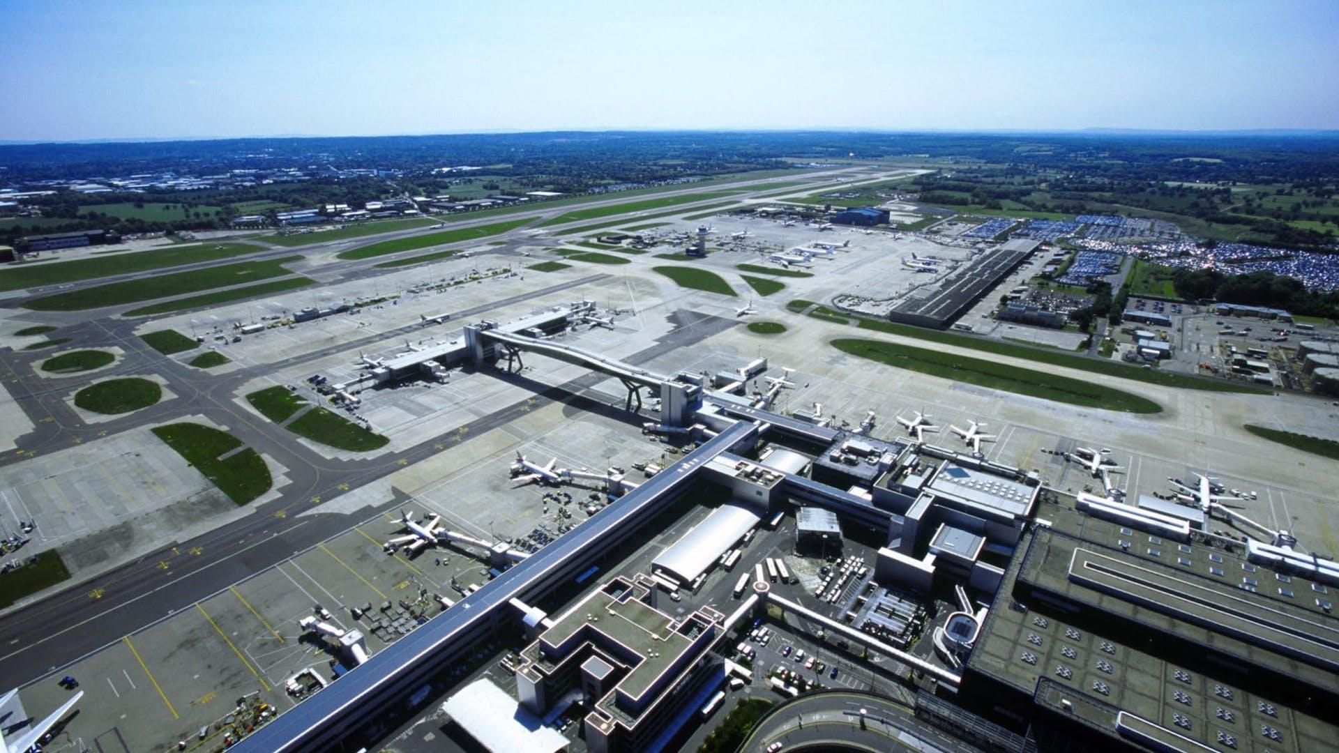 Gatwick Airport runway and terminal buildings