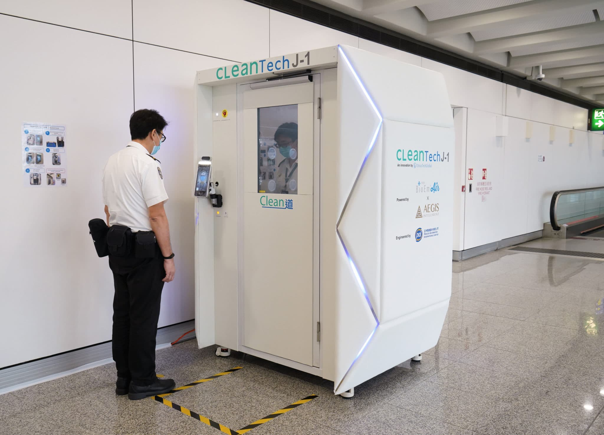 CleanTech robot for disinfecting passengers