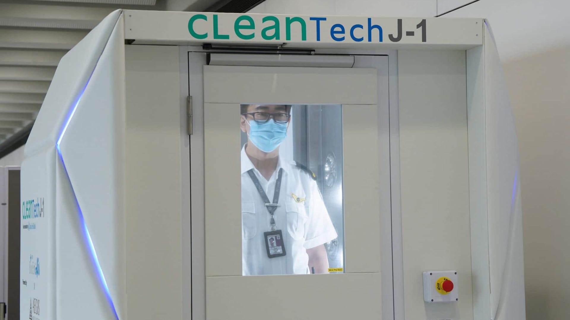 Airport robot cleansing passengers