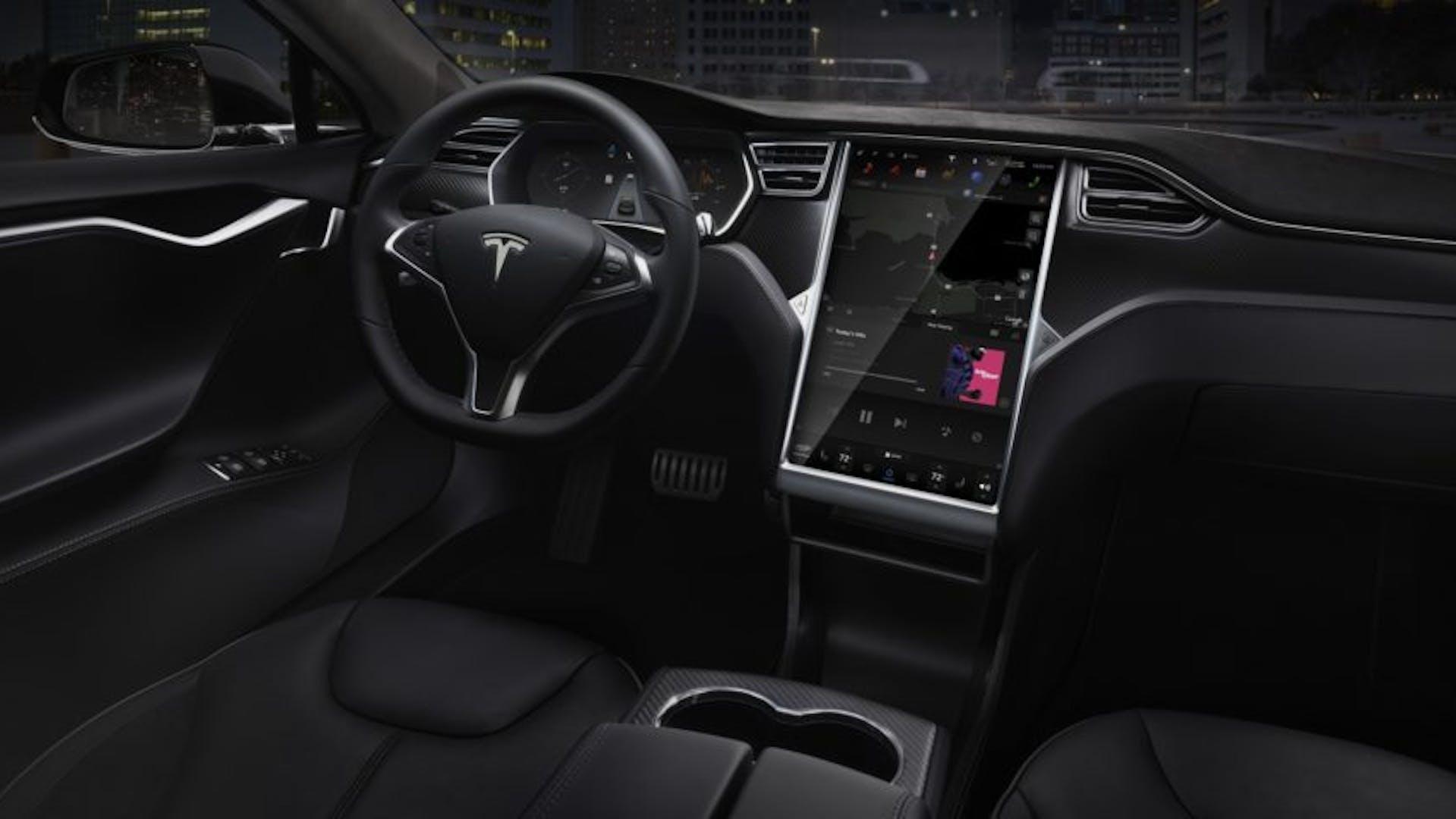 Inside a car showing steering wheel