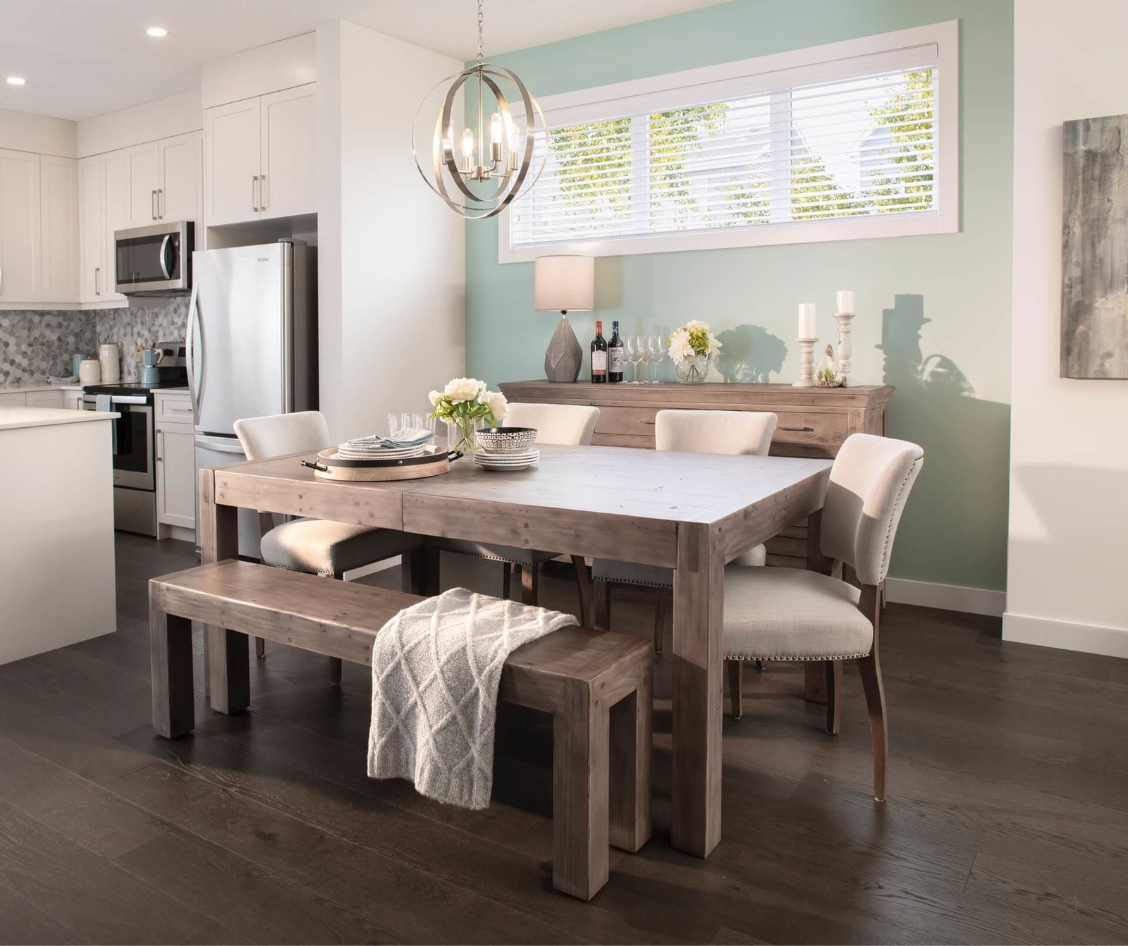 Wood table in dining room
