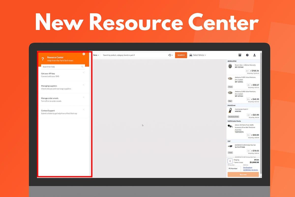 PartsTech Resource Center UI