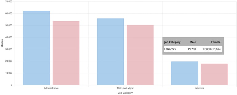 Figure 1 - Median salary by Job Category and Gender - From PayAnalytics reporting tool
