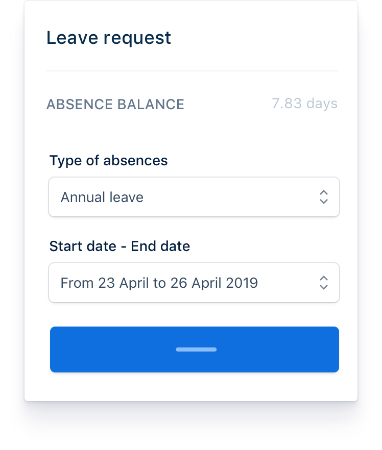 Each employee can request leaves directly from their personal portal. Specific absences such as sick leave or maternity/paternity are added directly by the employer from its admin portal.