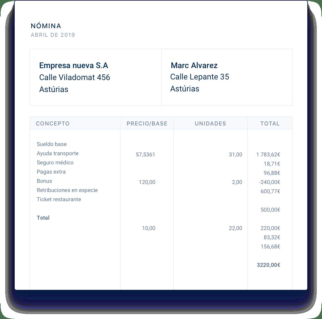 Visualización en tiempo real de las nóminas y resumen mensual